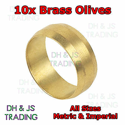 10x Brass Compression Olives - Barrel Plumbing Tube Pipe Olive Metric & Imperial