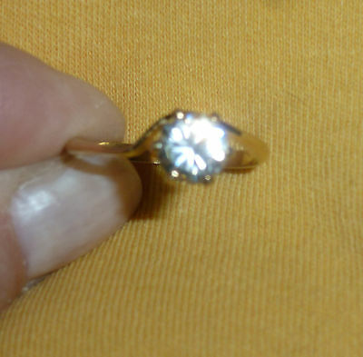 Vintage 14K Gold Filled Ring Clear Round Stone Size 8