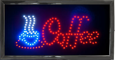 LED Coffee Sign Bright Flashing Window Hanging Display Neon Light Shop 48x25cm