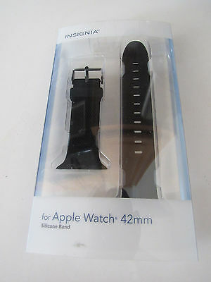 Insignia Silicone Band for Apple Watch 42mm NS-AWB42BLK - Black NEW/Open Box