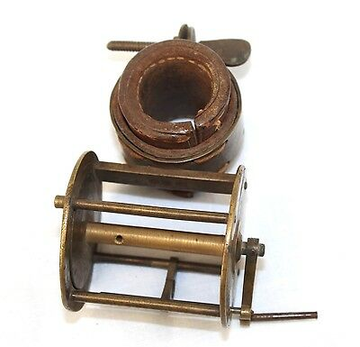 "2"" Early Victorian locking pin collar winch fishing reel circ 1820/30  Antique"