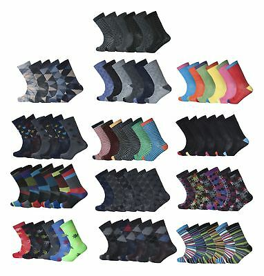 6&12 PAIRS MENS DESIGNER,STRIPPED COLOURED SUIT WORK SOCKS Lot SIZE UK 6-11