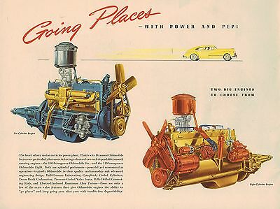 1948 Oldsmobile ENGINE GUIDE Dealer?Picture?Print from old ?Brochure? : 6,8 Cyl.