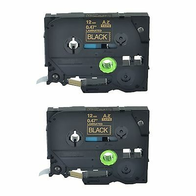 """2PK TZ334 TZe334 Gold on Black Label Tape for Brother P-Touch PT-1130 12mm 1/2"""""""