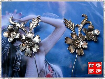 Vintage Style Handmade Miao Silver Flowers Hairpin Headdress 1 Pair 2014--209