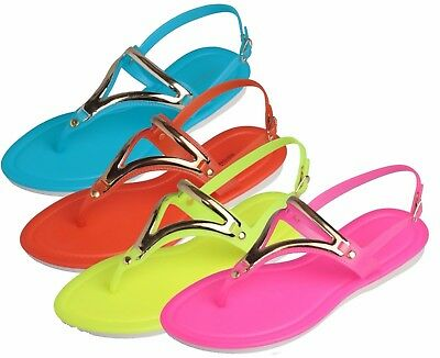 WHOLESALE Ladies Flip Flops Sandals Lot of 36prs w Back Strap Neon Only $2.85 ea