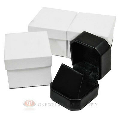 """3 Piece Black Leather Pendant Earring Jewelry Gift Boxes 1 7/8"""" x 2"""" x 1 5/8"""""""