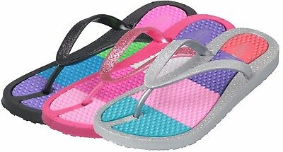 WHOLESALE 36 prs GIRLS FLIP FLOPS FUN COLORED w GLITTER Only $2.75ea Mspr $29.99