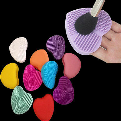 Heart Cleaning Cleaner Glove Finger Washing Brush Scrubber Board Silicone Makeup