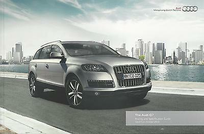 Audi Q7 UK Brochure October 2013 / 2014 Model Year 76 Pages In Mint Condition