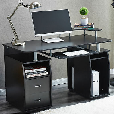 RayGar Deluxe Black Computer Desk With Shelves and 2 Drawers for Home Office PC