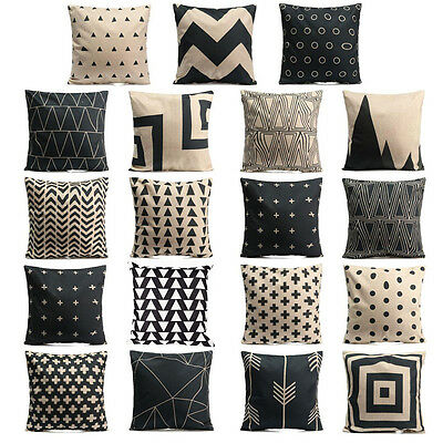 Black White Sofa Pillow Case Cotton Linen Fashion Throw Cushion Cover Home Decor