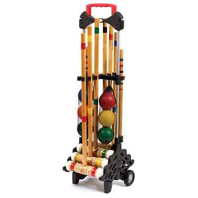 6-Player Wooden Croquet Set with Caddy, Outdoor Lawn Backyard BBQ Sports Family