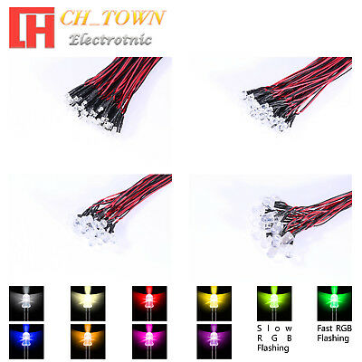 20pcs 3 5 8 10mm DC 9-12V Pre-Wired Water Clear Warm White Red Blue LED Diodes