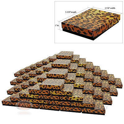 """Large 100 Leopard Print Cotton Filled Jewelry Gift Boxes 5 3/8"""" x 3 7/8"""" x 1""""H"""