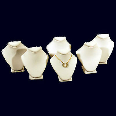 6 White Leather Necklace Jewelry Display Busts 2 5/8""