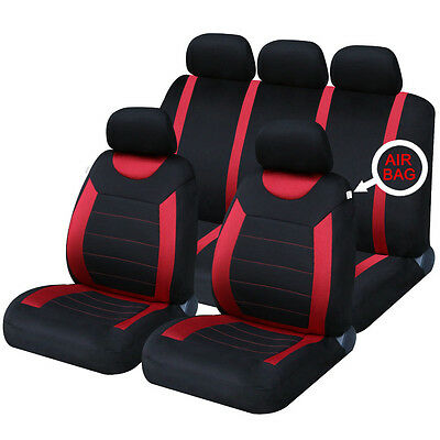 Universal Car Carnaby Black & Red Seat Covers Washable Airbag Safe 8 Piece Set