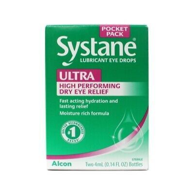 Systane Ultra Eye Drops Lubricant High Performance 2 Count 4 mL bottles Each