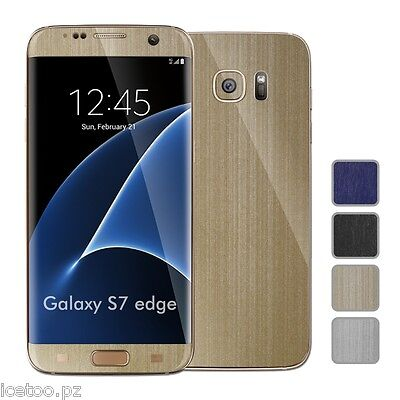 For SAMSUNG GALAXY S7 EDGE 3D BRUSHED METAL Effect Decal Wrap Sticker Skin
