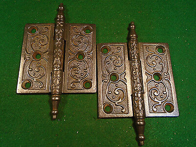 Pair Vintage Eastlake Hinges  3.5  X 3.5  Steeple Top - Beautiful  (2813-B)