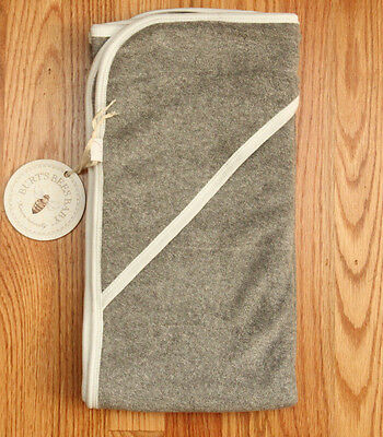 """Burt's Bees Baby Double Ply Hooded Towel~Heather Gray ~29"""" x 29"""" ~Organic Cotton"""