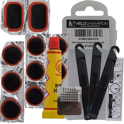 VeloChampion Bike Puncture Repair Kit - 11x Emergency Breakdown Patches and Glue