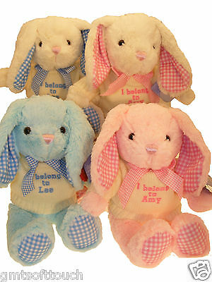 *SALE* Personalised Bunny, Teddy Bears, Embroidered, Baby Gifts, NAME ONLY.