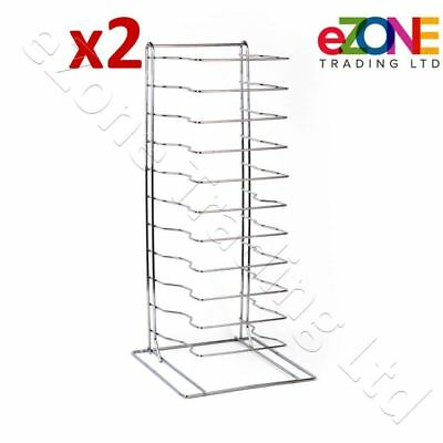 2X Pizza Pan Rack 11-Slot Shelf Stand for Stacking Deep Pans Trays