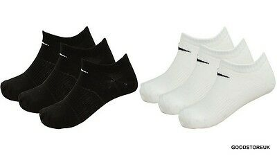 Mens 3 Pack Nike No Show Low Line Trainer Black White Socks