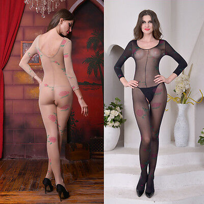Women sexy Lace transparent Siamese stockings printing