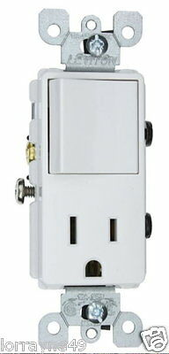 Leviton 5625-W Single-pole Switch Receptacle Outlet  New  Switch + RECP 15A