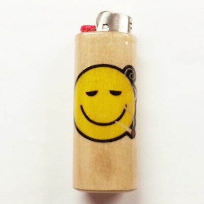 Smiley Face Joint Lighter Case Holder Sleeve Cover Pot Weed Fits Bic Lighters