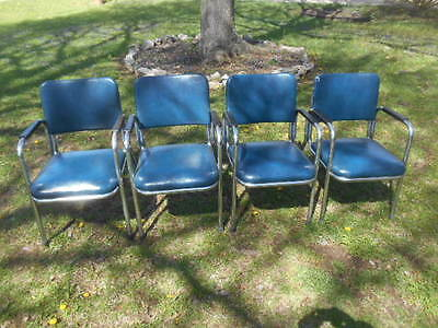 FINAL MARKDOWN!! Set of 4 Vintage Mid Century Royal Metal Chrome Arm Chairs