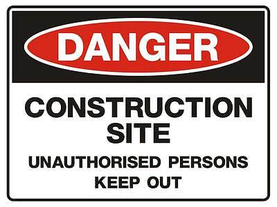 "Safety Sign ""DANGER CONSTRUCTION SITE 5mm corflute 300MM X 225MM"""