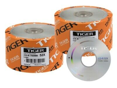 SPECIAL! 100-Pack Tiger 52X Logo CD-R Blank Disc 700MB FREE EXPEDITED SHIPPING