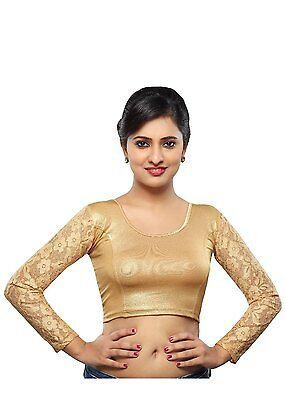 Saris and Things Copper Shimmer Stretchable Ready-made Saree Blouse Choli