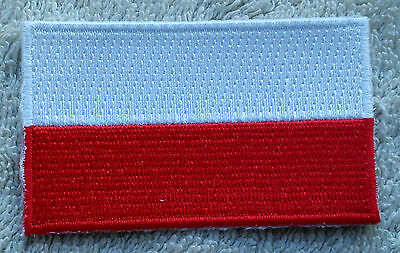 POLAND FLAG PATCH Embroidered Badge Iron or Sew on 4.5cm x 6cm Polish Polska NEW