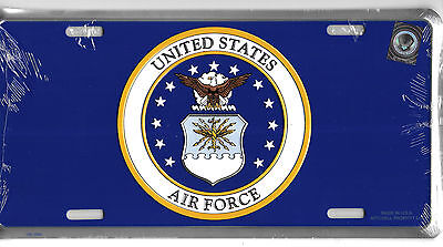 US Air Force Seal on Blue Embossed Metal License Plate Car Tag
