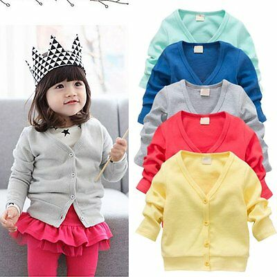 0~3Y Kids Baby Boys Girls Casual V-neck Cardigan Long Sleeve Knot Coat Outerwear