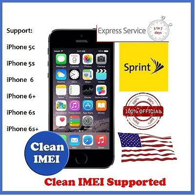 Sprint Official Factory Unlock Code Service iPhone 7+ 7 6S+ 6S 6+ 6 5S 5C CLEAN