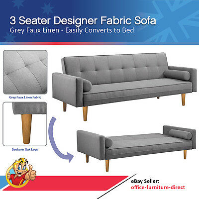 3 Seater Linen Sofa, Fabric Lounge, Sofa Bed, Convertible Bed, Grey Lounge