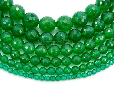Natural Green Agate Gemstone Faceted Round Beads 15'' 4mm 6mm 8mm 10mm 12mm 14mm