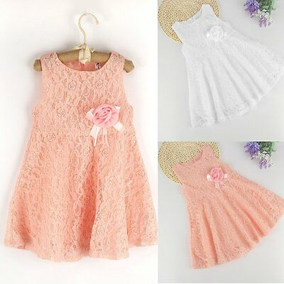Toddler Kids Baby Girls Summer Dress Lace Crochet Princess Party Pageant Dresses