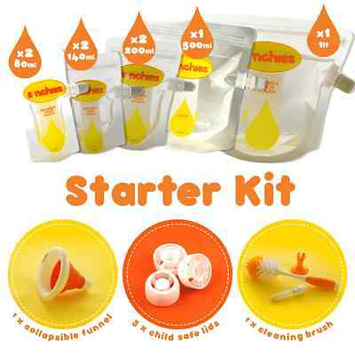 NEW Sinchies Starter Kit Baby Food Reusable Squeeze Pouches Refillable Brush Bag