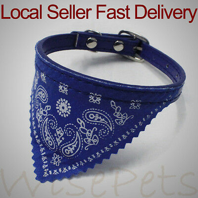Adjustable Leather Collar Bandana Neck Scarf For Small Dog Puppy Cat Kitten