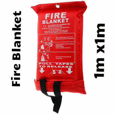 QUICK RELEASE HOME OFFICE CARAVAN SAFETY FIRE BLANKET IN CASE LARGE 1M x 1M NEW