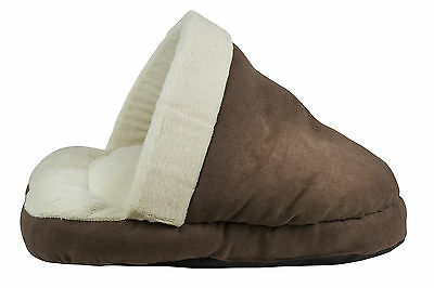 World of Pets Brown Faux Suede Cat Cushion Sleeping Shoe Soft Fleece Lining New