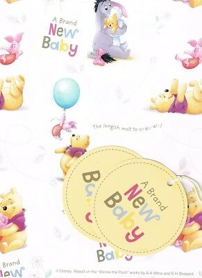 Winnie The Pooh A Brand New Baby 2 Sheets Of Gift Wrap And 2 Gift Tags New Gift