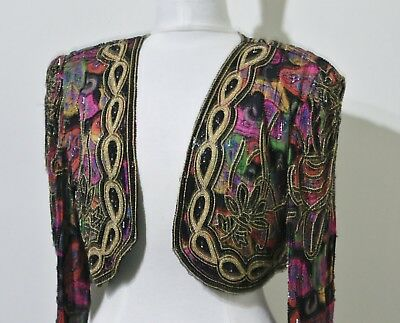 Jasdee Vintage Beaded Bolero Jacket Long Sleeve HandWork & HandPrint Style 2002