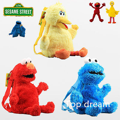 Sesame Street Plush Backpack Elmo Cookie Monster Big Bird Doll Toy School Bags